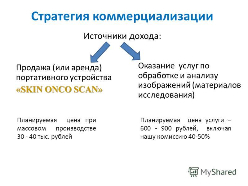 Стратегия коммерциализации Продажа (или аренда) портативного устройства «SKIN ONCO SCAN» Оказание услуг по обработке и анализу изображений (материалов исследования) Источники дохода: Планируемая цена при массовом производстве 30 - 40 тыс. рублей План