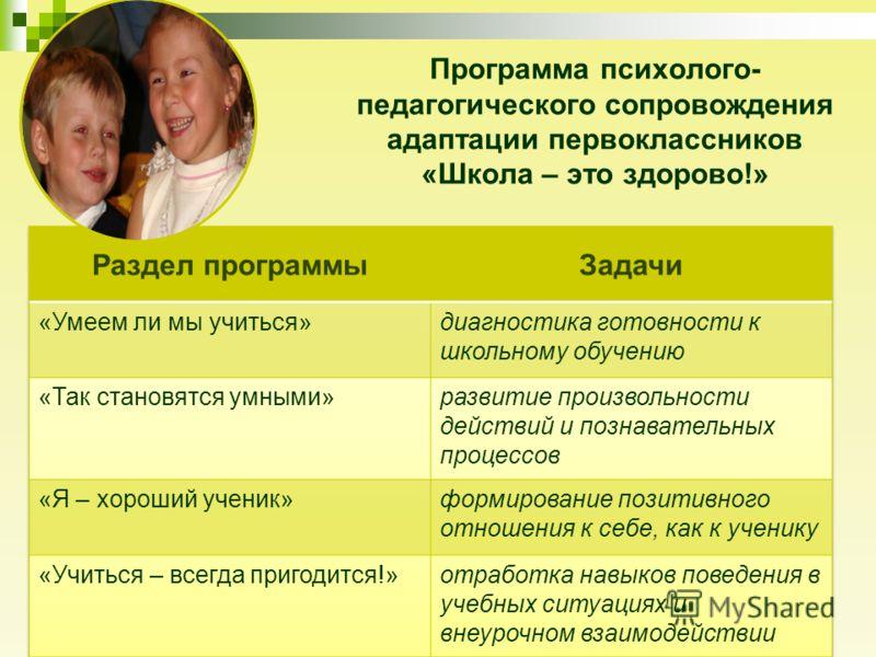 Программа психолого- педагогического сопровождения адаптации первоклассников «Школа – это здорово!»