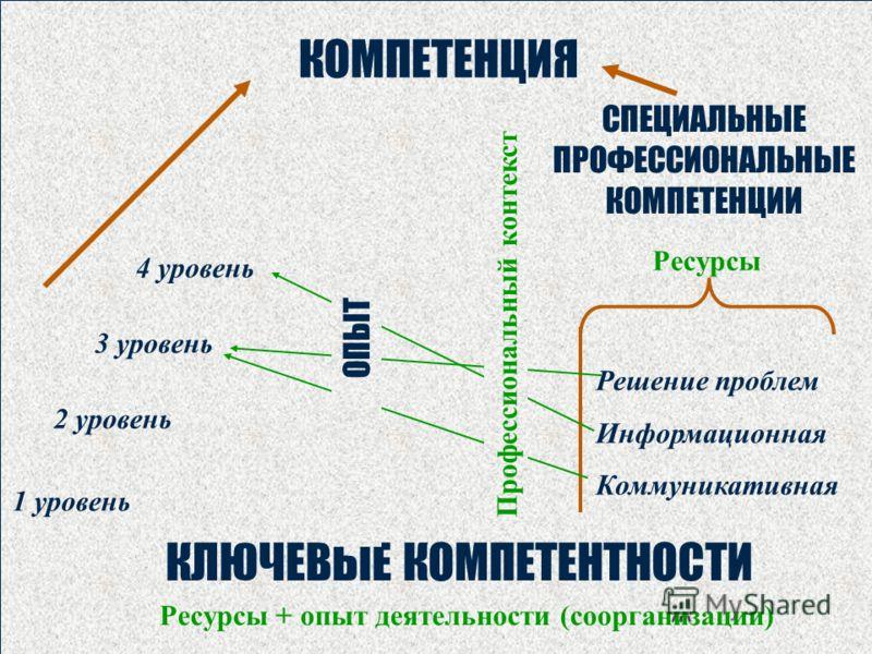 КЛЮЧЕВЫЕ КОМПЕТЕНТНОСТИ 1 уровень 4 уровень 3 уровень 2 уровень КОМПЕТЕНЦИЯ Решение проблем Информационная Коммуникативная Ресурсы + опыт деятельности (соорганизации) Профессиональный контекст ОПЫТ СПЕЦИАЛЬНЫЕ ПРОФЕССИОНАЛЬНЫЕ КОМПЕТЕНЦИИ Ресурсы