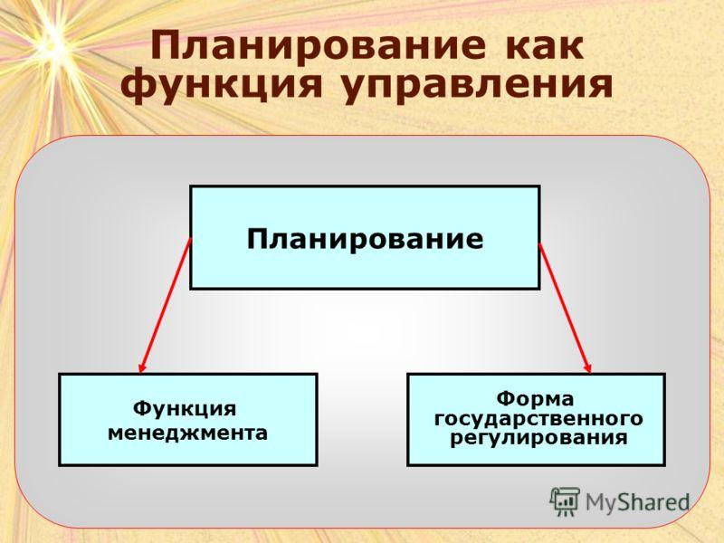 Планирование как функция управления Планирование Функция менеджмента Форма государственного регулирования