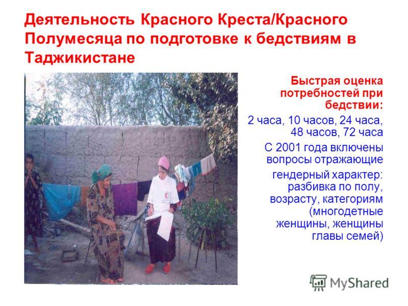 Деятельность Красного Креста/Красного Полумесяца по подготовке к бедствиям в Таджикистане Быстрая оценка потребностей при бедствии: 2 часа, 10 часов, 24 часа, 48 часов, 72 часа С 2001 года включены вопросы отражающие гендерный характер: разбивка по п