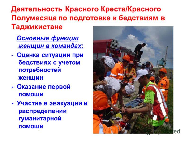 Деятельность Красного Креста/Красного Полумесяца по подготовке к бедствиям в Таджикистане Основные функции женщин в командах: - Оценка ситуации при бедствиях с учетом потребностей женщин - Оказание первой помощи - Участие в эвакуации и распределении