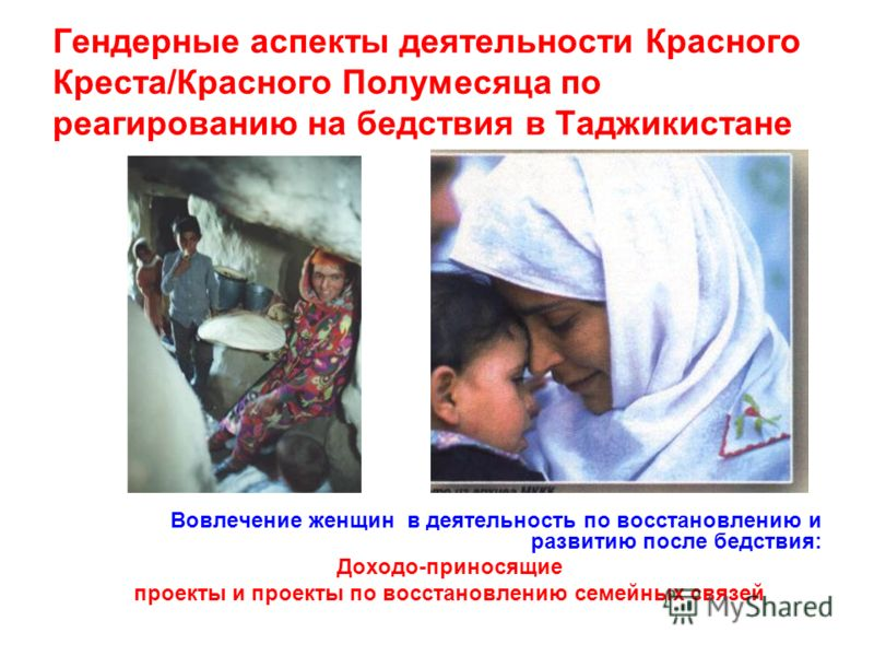 Гендерные аспекты деятельности Красного Креста/Красного Полумесяца по реагированию на бедствия в Таджикистане Вовлечение женщин в деятельность по восстановлению и развитию после бедствия: Доходо-приносящие проекты и проекты по восстановлению семейных