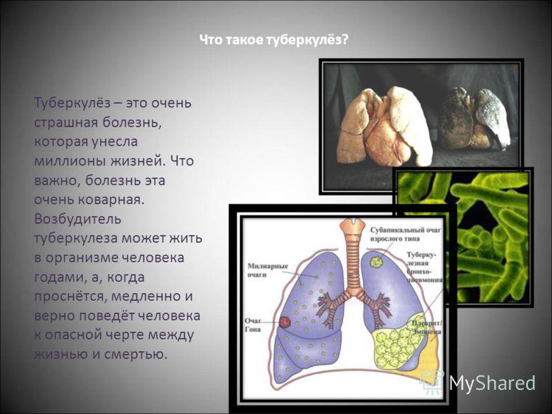 Что такое туберкулёз? Туберкулёз – это очень страшная болезнь, которая унесла миллионы жизней. Что важно, болезнь эта очень коварная. Возбудитель туберкулеза может жить в организме человека годами, а, когда проснётся, медленно и верно поведёт человек