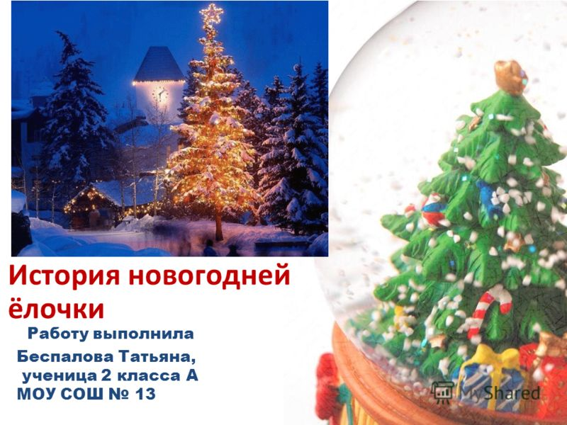Работу выполнила Беспалова Татьяна, ученица 2 класса А МОУ СОШ 13 История новогодней ёлочки