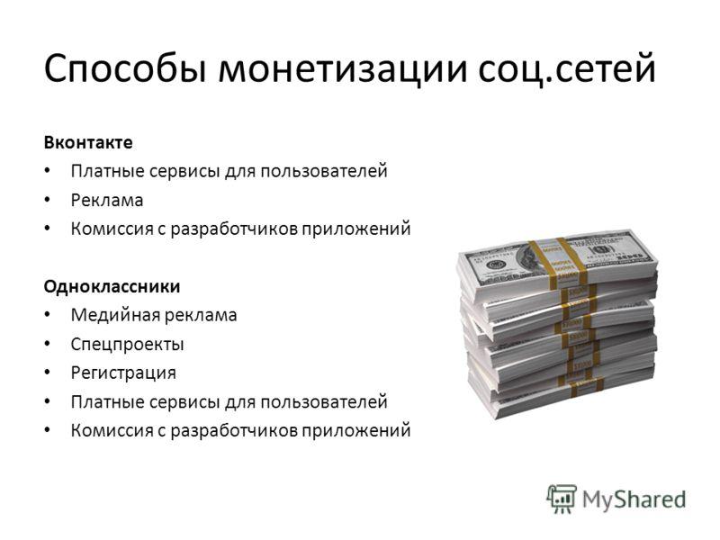 Способы монетизации соц.сетей Вконтакте Платные сервисы для пользователей Реклама Комиссия с разработчиков приложений Одноклассники Медийная реклама Спецпроекты Регистрация Платные сервисы для пользователей Комиссия с разработчиков приложений