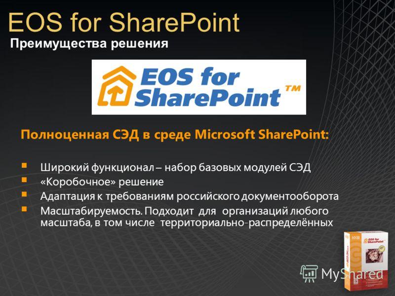 Преимущества решения EOS for SharePoint Полноценная СЭД в среде Microsoft SharePoint: Широкий функционал – набор базовых модулей СЭД «Коробочное» решение Адаптация к требованиям российского документооборота Масштабируемость. Подходит для организаций