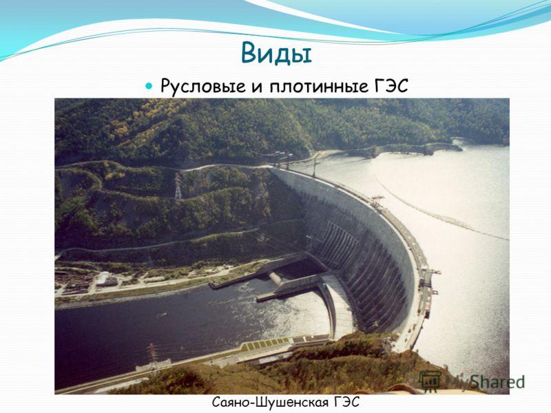 Виды Русловые и плотинные ГЭС Саяно-Шуш е нская ГЭС