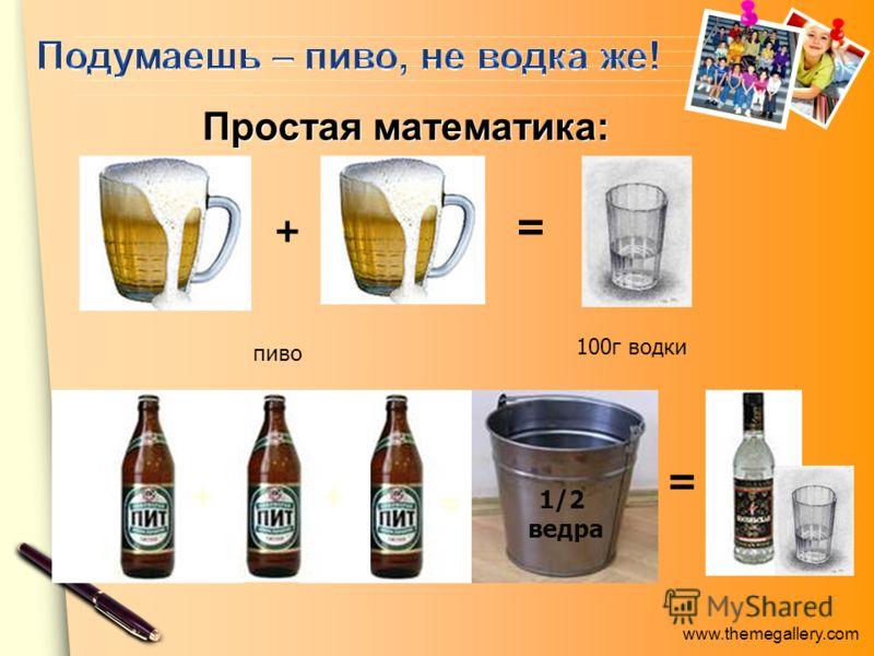 www.themegallery.com + = пиво 100г водки Простая математика: Простая математика: + + = 1/2 ведра =