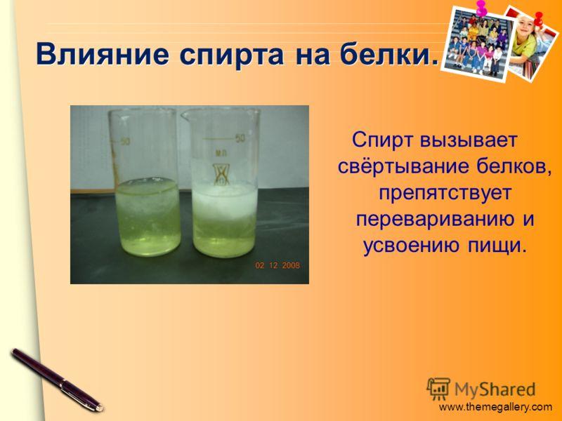 www.themegallery.com Влияние спирта на белки. Спирт вызывает свёртывание белков, препятствует перевариванию и усвоению пищи.