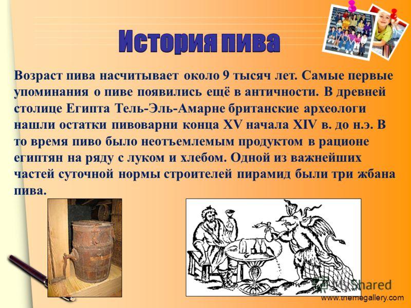 Возраст пива насчитывает около 9 тысяч лет. Самые первые упоминания о пиве появились ещё в античности. В древней столице Египта Тель-Эль-Амарне британские археологи нашли остатки пивоварни конца XV начала XIV в. до н.э. В то время пиво было неотъемле