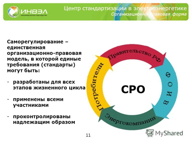 11 Центр стандартизации в электроэнергетике Организационно-правовая форма Саморегулирование – единственная организационно-правовая модель, в которой единые требования (стандарты) могут быть: -разработаны для всех этапов жизненного цикла -применены вс