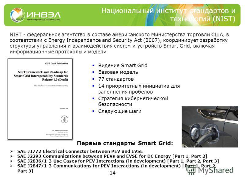 14 Национальный институт стандартов и технологий (NIST) Видение Smart Grid Базовая модель 77 стандартов 14 приоритетных инициатив для заполнения пробелов Стратегия кибернетической безопасности Следующие шаги NIST - федеральное агентство в составе аме
