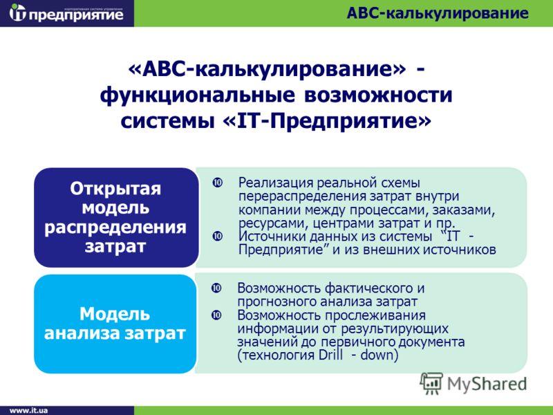 «АВС-калькулирование» - функциональные возможности системы «IТ-Предприятие» ABC-калькулирование Реализация реальной схемы перераспределения затрат внутри компании между процессами, заказами, ресурсами, центрами затрат и пр. Источники данных из систем