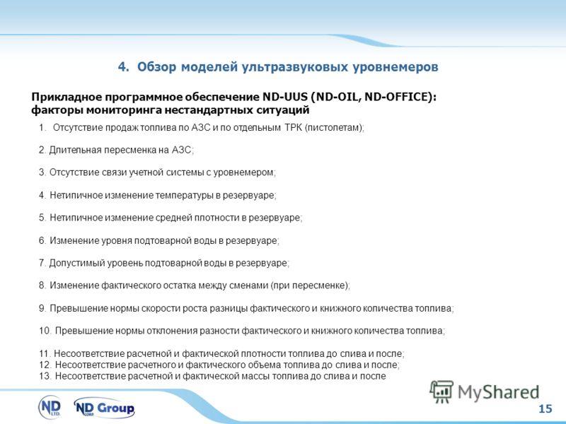 15 4. Обзор моделей ультразвуковых уровнемеров Прикладное программное обеспечение ND-UUS (ND-OIL, ND-OFFICE): факторы мониторинга нестандартных ситуаций 1.Отсутствие продаж топлива по АЗС и по отдельным ТРК (пистолетам); 2. Длительная пересменка на А