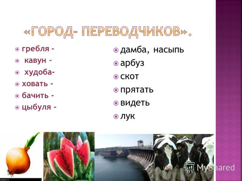 гребля - кавун – худоба- ховать - бачить - цыбуля - дамба, насыпь арбуз скот прятать видеть лук