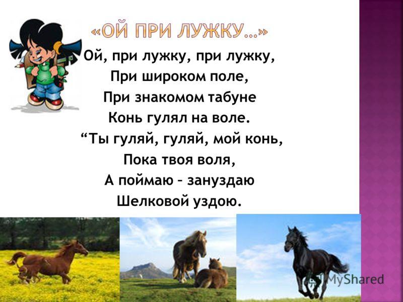 Ой, при лужку, при лужку, При широком поле, При знакомом табуне Конь гулял на воле. Ты гуляй, гуляй, мой конь, Пока твоя воля, А поймаю – зануздаю Шелковой уздою.