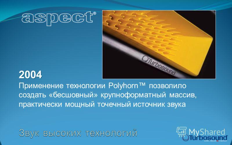 2004 2004 Применение технологии Polyhorn позволило создать «бесшовный» крупноформатный массив, практически мощный точечный источник звука