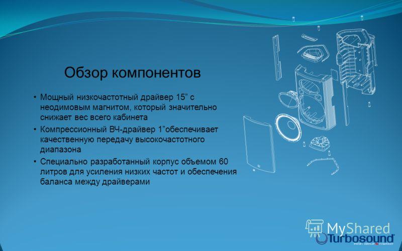 Мощный низкочастотный драйвер 15 с неодимовым магнитом, который значительно снижает вес всего кабинета Компрессионный ВЧ-драйвер 1обеспечивает качественную передачу высокочастотного диапазона Специально разработанный корпус объемом 60 литров для усил