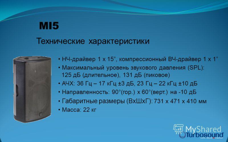 НЧ-драйвер 1 x 15, компрессионный ВЧ-драйвер 1 x 1 Максимальный уровень звукового давления (SPL): 125 дБ (длительное), 131 дБ (пиковое) АЧХ: 36 Гц – 17 кГц ±3 дБ, 23 Гц – 22 кГц ±10 дБ Направленность: 90°(гор.) x 60°(верт.) на -10 дБ Габаритные разме