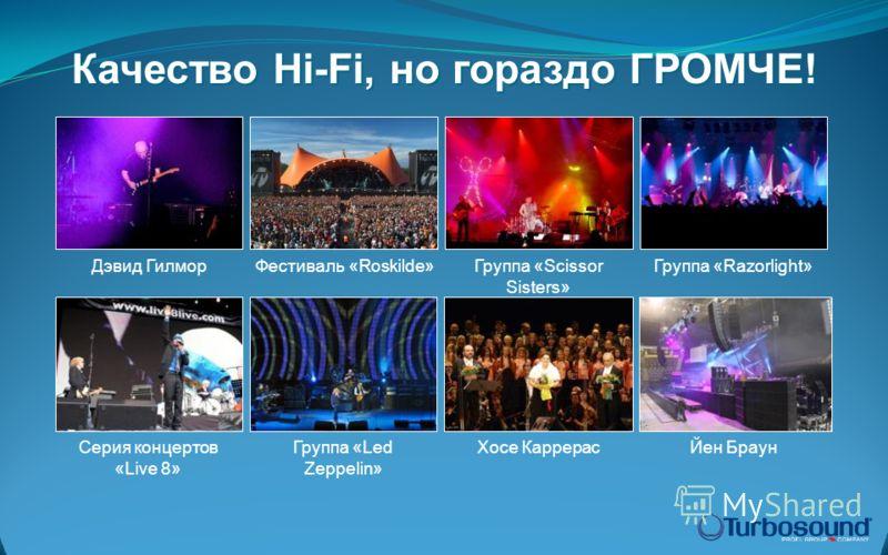 Качество Hi-Fi, но гораздо ГРОМЧЕ! Дэвид ГилморГруппа «Scissor Sisters» Группа «Razorlight»Фестиваль «Roskilde» Группа «Led Zeppelin» Серия концертов «Live 8» Хосе КаррерасЙен Браун