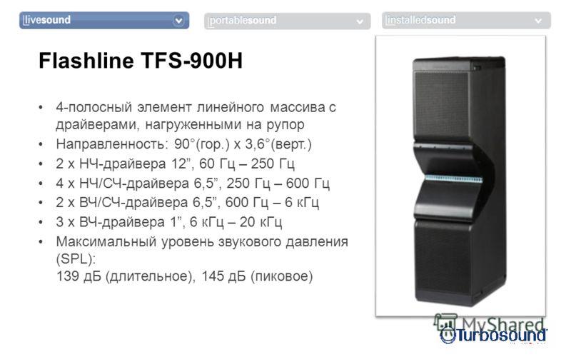 4-полосный элемент линейного массива с драйверами, нагруженными на рупор Направленность: 90°(гор.) x 3,6°(верт.) 2 x НЧ-драйвера 12, 60 Гц – 250 Гц 4 x НЧ/СЧ-драйвера 6,5, 250 Гц – 600 Гц 2 x ВЧ/СЧ-драйвера 6,5, 600 Гц – 6 кГц 3 x ВЧ-драйвера 1, 6 кГ