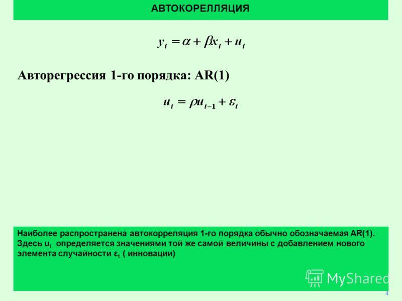 3 Авторегрессия 1-го порядка: AR(1) АВТОКОРЕЛЛЯЦИЯ 4 Наиболее распространена автокорреляция 1-го порядка обычно обозначаемая AR(1). Здесь u t определяется значениями той же самой величины с добавлением нового элемента случайности ε t ( инновации)
