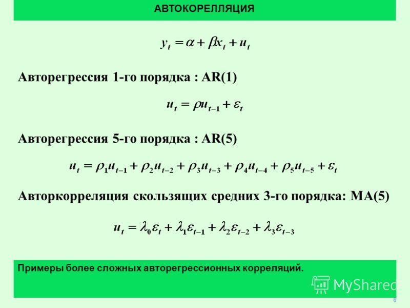 4 Авторегрессия 1-го порядка : AR(1) Авторегрессия 5-го порядка : AR(5) Авторкорреляция скользящих средних 3-го порядка: MA(5) АВТОКОРЕЛЛЯЦИЯ 6 Примеры более сложных авторегрессионных корреляций.