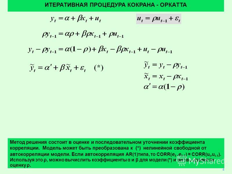 40 4 Метод решения состоит в оценке и последовательном уточнении коэффициента корреляции. Модель может быть преобразована к (*) нелинейной свободной от автокорреляции модели. Если автокорреляция AR(1)типа, то CORR( e t,e t-1 ) CORR(u t,u t-1 ). Испол