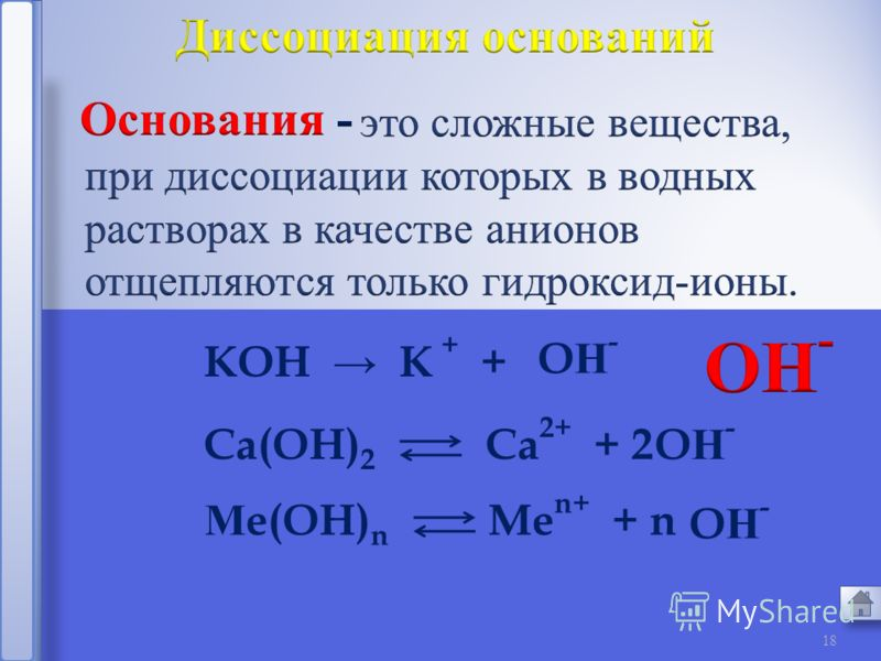 17 Н Cl + Cl - Н 2 SO 4 2 + SO 4 2- Н 2 CO 3 2 + CO 3 2- Н+Н+ Н+Н+ Н+Н+ 5. Диссоциация кислот, оснований, солей