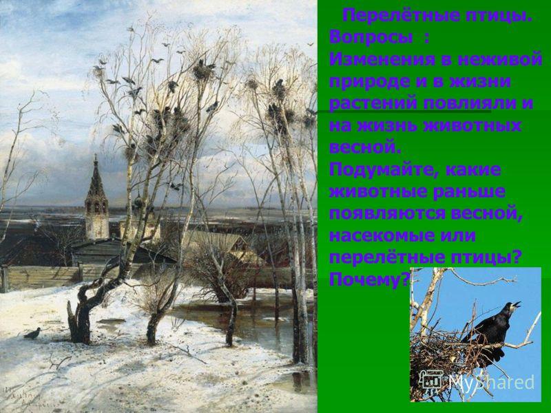 Перелётные птицы. Вопросы : Изменения в неживой природе и в жизни растений повлияли и на жизнь животных весной. Подумайте, какие животные раньше появляются весной, насекомые или перелётные птицы? Почему?