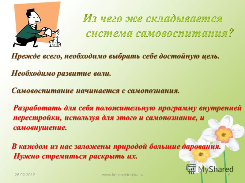 26.02.2012www.konspekturoka.ru6 Прежде всего, необходимо выбрать себе достойную цель. Необходимо развитие воли. Самовоспитание начинается с самопознания. Разработать для себя положительную программу внутренней перестройки, используя для этого и самоп