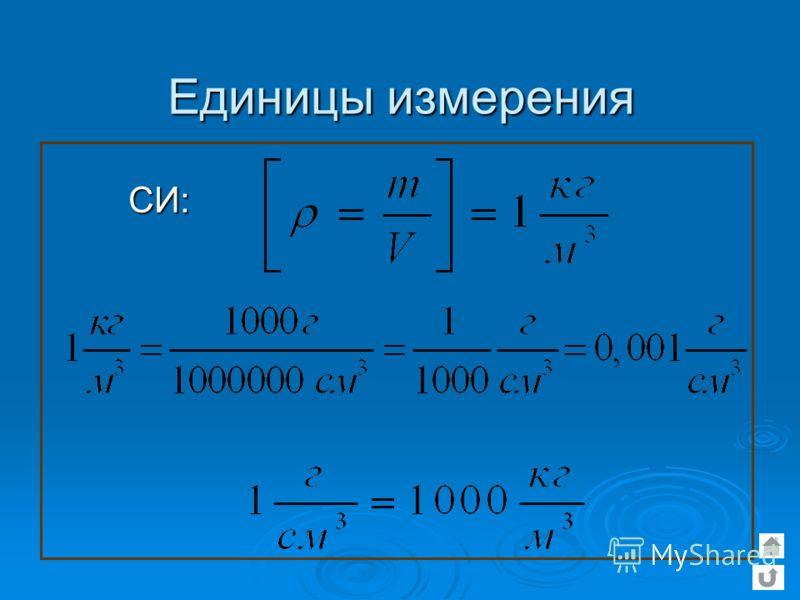 Единицы измерения СИ: СИ: