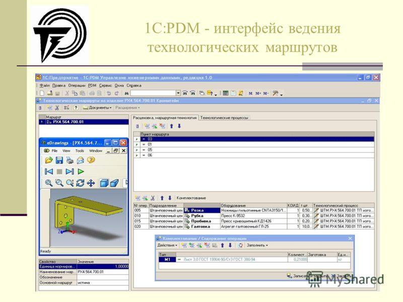 1C:PDM - интерфейс ведения технологических маршрутов