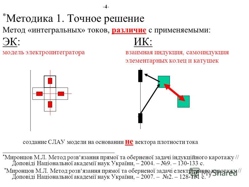 -4- * Методика 1. Точное решение Метод «интегральных» токов, различие с применяемыми: ЭК: ИК: модель электроинтегратора взаимная индукция, самоиндукция элементарных колец и катушек создание СЛАУ модели на основании не вектора плотности тока _________