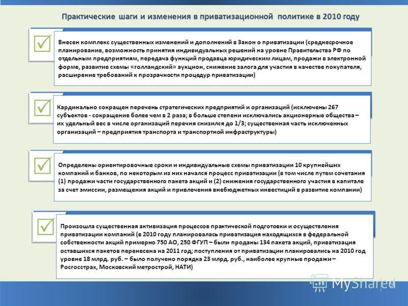 Практические шаги и изменения в приватизационной политике в 2010 году 99 9 Внесен комплекс существенных изменений и дополнений в Закон о приватизации (среднесрочное планирование, возможность принятия индивидуальных решений на уровне Правительства РФ