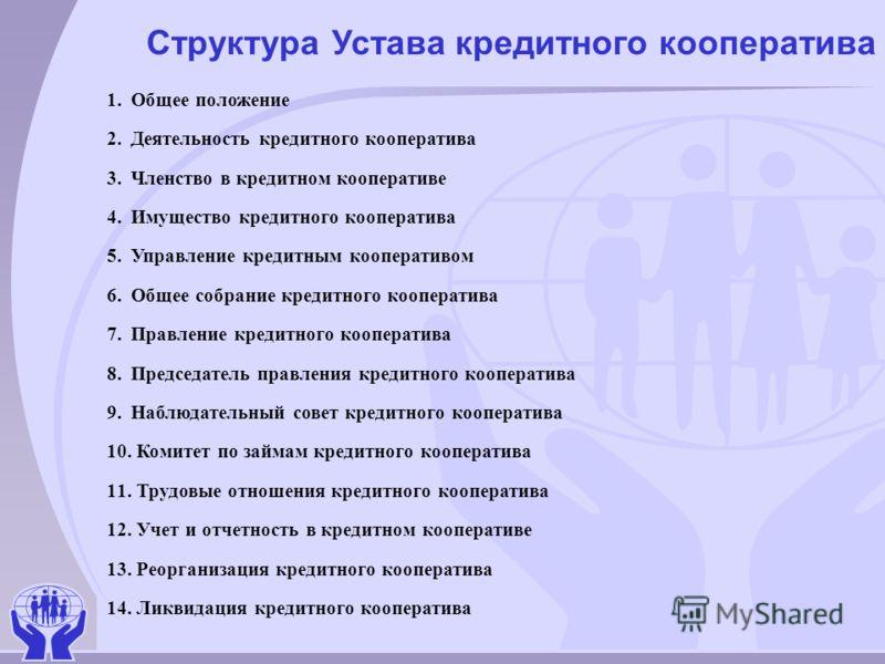 Структура Устава кредитного кооператива 1. Общее положение 2. Деятельность кредитного кооператива 3. Членство в кредитном кооперативе 4. Имущество кредитного кооператива 5. Управление кредитным кооперативом 6. Общее собрание кредитного кооператива 7.