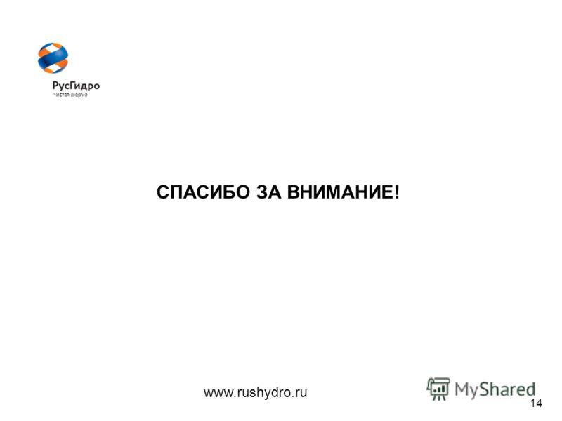 Чистая энергия 14 СПАСИБО ЗА ВНИМАНИЕ! www.rushydro.ru
