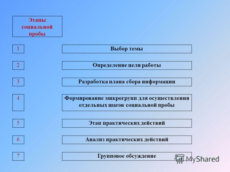 Этапы социальной пробы 1Выбор темы 2Определение цели работы 3Разработка плана сбора информации 4Формирование микрогрупп для осуществления отдельных шагов социальной пробы 5Этап практических действий 6Анализ практических действий 7Групповое обсуждение