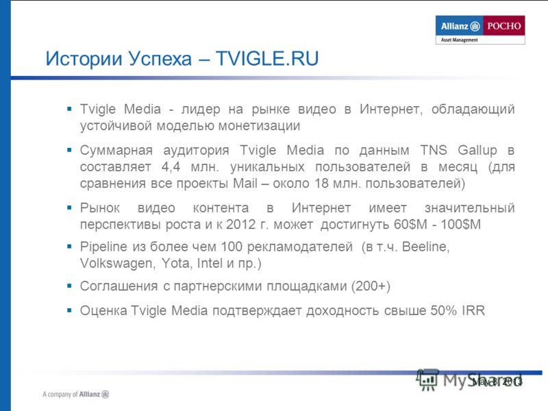 May 8, 2013 Tvigle Media - лидер на рынке видео в Интернет, обладающий устойчивой моделью монетизации Суммарная аудитория Tvigle Media по данным TNS Gallup в составляет 4,4 млн. уникальных пользователей в месяц (для сравнения все проекты Mail – около