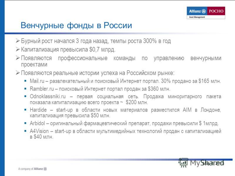 May 8, 2013 Венчурные фонды в России Бурный рост начался 3 года назад, темпы роста 300% в год Капитализация превысила $0,7 млрд. Появляются профессиональные команды по управлению венчурными проектами Появляются реальные истории успеха на Российском р