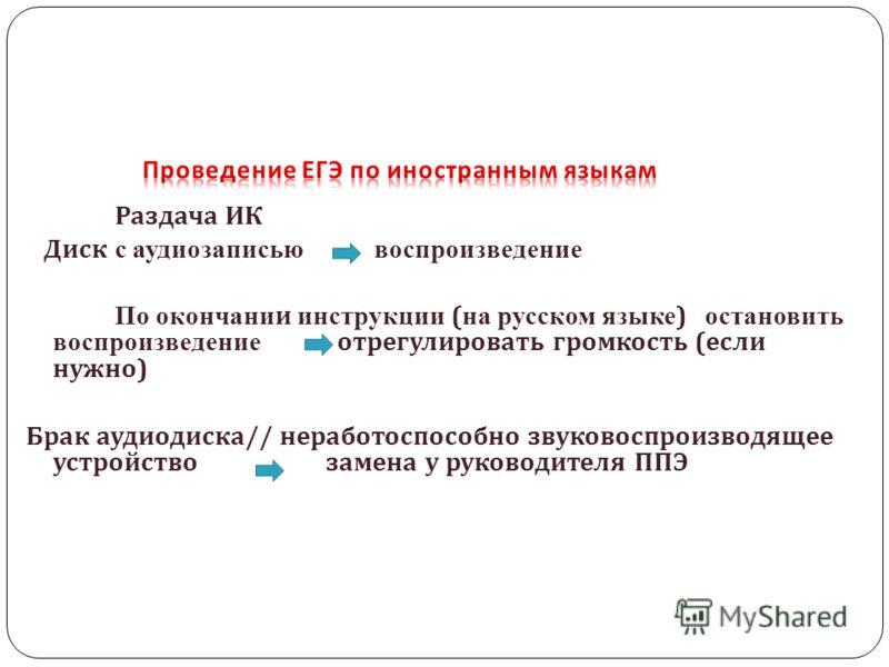 Раздача ИК Диск с аудиозаписью воспроизведение По окончании инструкции ( на русском языке ) остановить воспроизведение отрегулировать громкость ( если нужно ) Брак аудиодиска // неработоспособно звуковоспроизводящее устройство замена у руководителя П