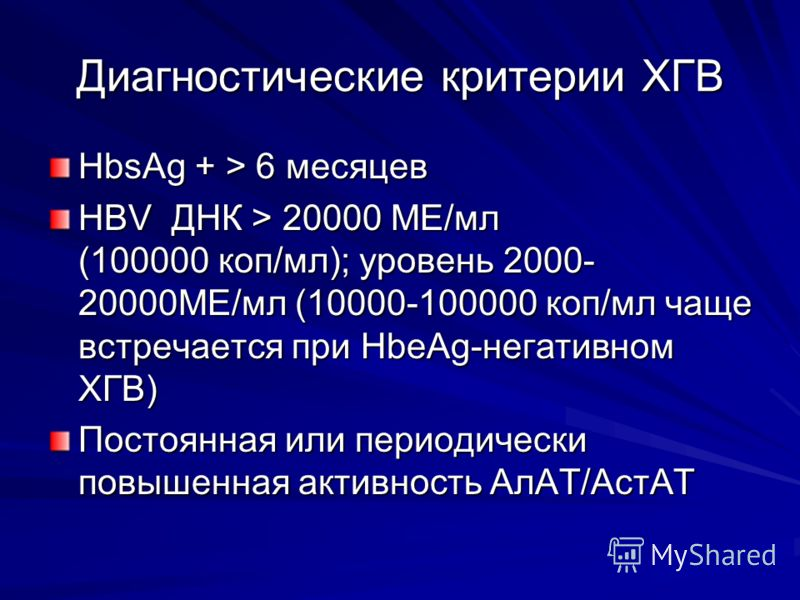 Диагностические критерии ХГВ HbsAg + > 6 месяцев HBV ДНК > 20000 МЕ/мл (100000 коп/мл); уровень 2000- 20000МЕ/мл (10000-100000 коп/мл чаще встречается при HbeAg-негативном ХГВ) Постоянная или периодически повышенная активность АлАТ/АстАТ