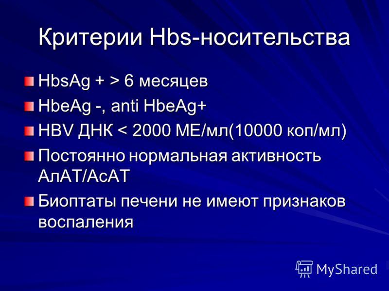 Критерии Hbs-носительства HbsAg + > 6 месяцев HbeAg -, anti HbeAg+ HBV ДНК < 2000 МЕ/мл(10000 коп/мл) Постоянно нормальная активность АлАТ/АсАТ Биоптаты печени не имеют признаков воспаления