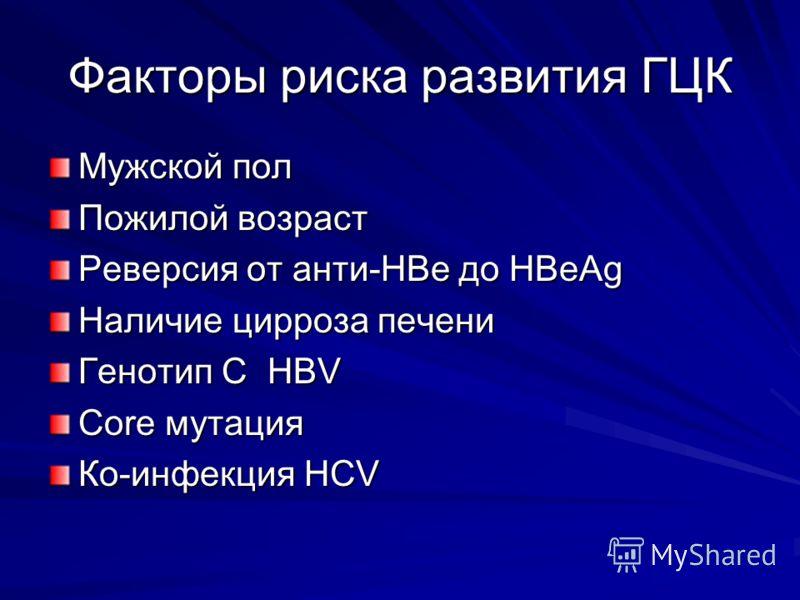 Факторы риска развития ГЦК Мужской пол Пожилой возраст Реверсия от анти-HBe до HBeAg Наличие цирроза печени Генотип С HBV Соre мутация Ко-инфекция HCV