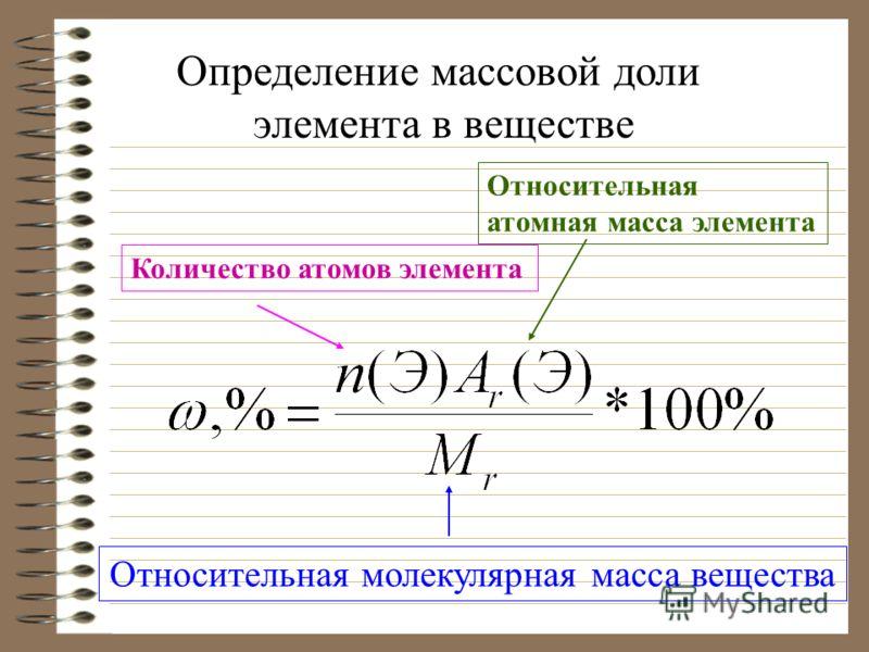 Относительная молекулярная масса вещества Количество атомов элемента Относительная атомная масса элемента Определение массовой доли элемента в веществе