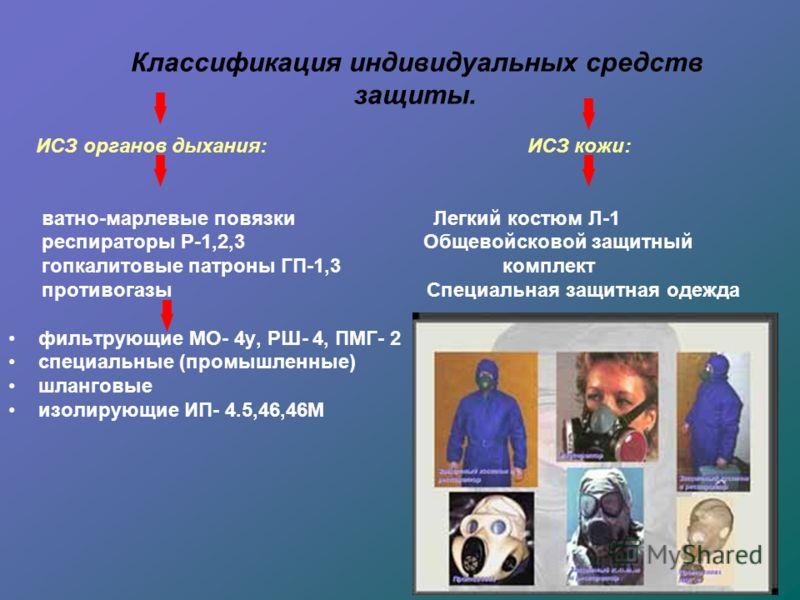 Классификация индивидуальных средств защиты. ИСЗ органов дыхания: ИСЗ кожи: ватно-марлевые повязки Легкий костюм Л-1 респираторы Р-1,2,3 Общевойсковой защитный гопкалитовые патроны ГП-1,3 комплект противогазы Специальная защитная одежда фильтрующие М