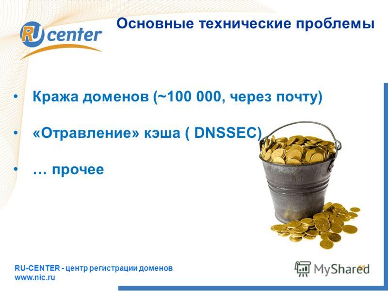 RU-CENTER - центр регистрации доменов www.nic.ru 11 Основные технические проблемы Кража доменов (~100 000, через почту) «Отравление» кэша ( DNSSEC) … прочее