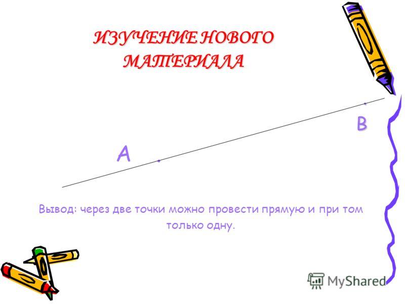 ИЗУЧЕНИЕ НОВОГО МАТЕРИАЛА. А Вывод: через одну точку можно провести множество прямых.