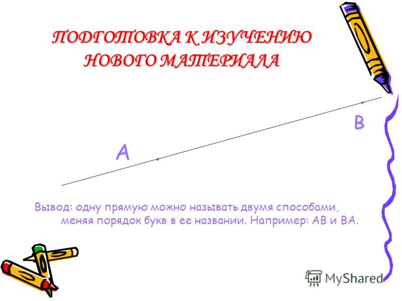 ПОДГОТОВКА К ИЗУЧЕНИЮ НОВОГО МАТЕРИАЛА РАБОТА В ТЕТРАДИ ПО ИНСТРУКЦИИ 1: отметьте 2 точки, назовите их;отметьте 2 точки, назовите их; постройте прямую, проходящую через эти точки, назовите ее. Меняя порядок букв в ее названии, сделайте вывод;постройт